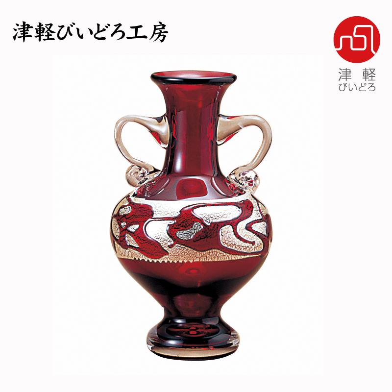 津軽びいどろ ミニ花器 金花 F-79450 (ADERIA GLASS)