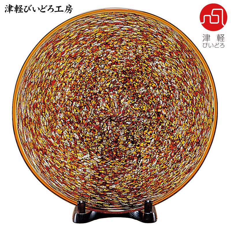 津軽びいどろ 大皿 十和田 紅葉 F-79648 (ADERIA GLASS)