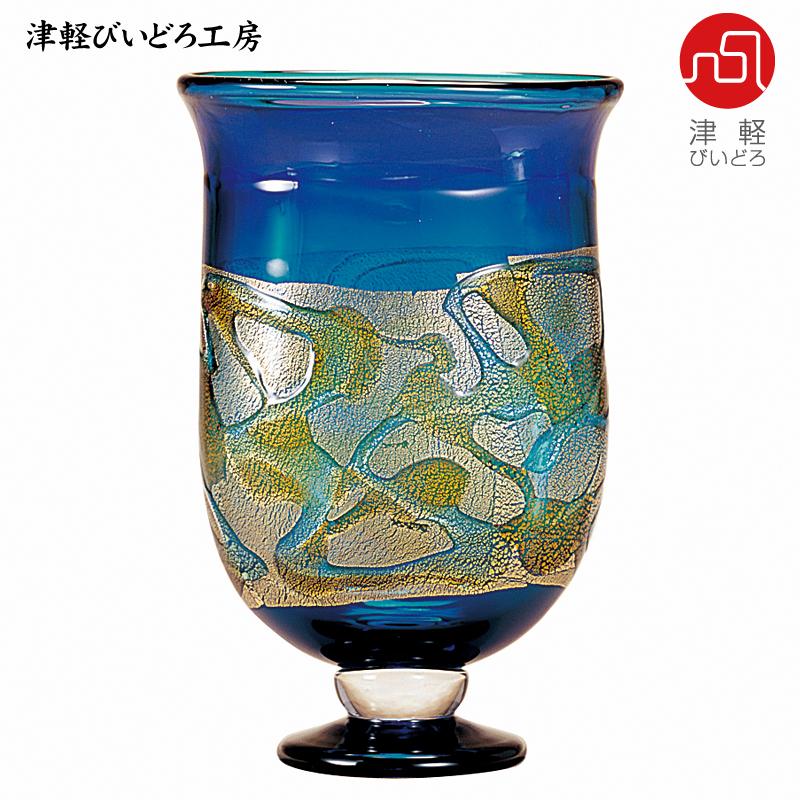 津軽びいどろ 花器 紫陽彩花 (あじさいのはな) F-79628 (ADERIA GLASS)