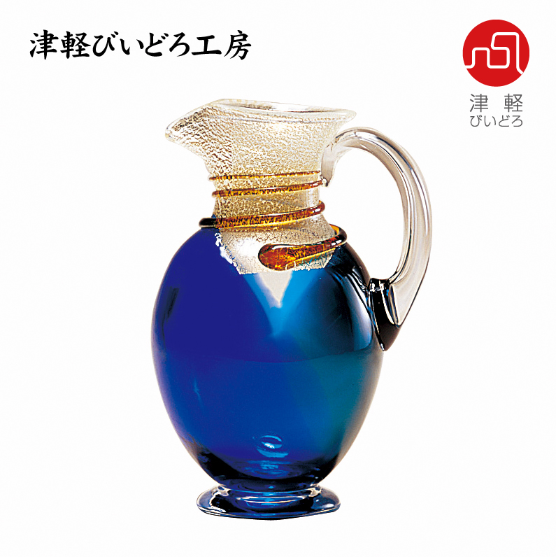 津軽びいどろ 水差し 銀彩色合せ F-79631 (ADERIA GLASS)