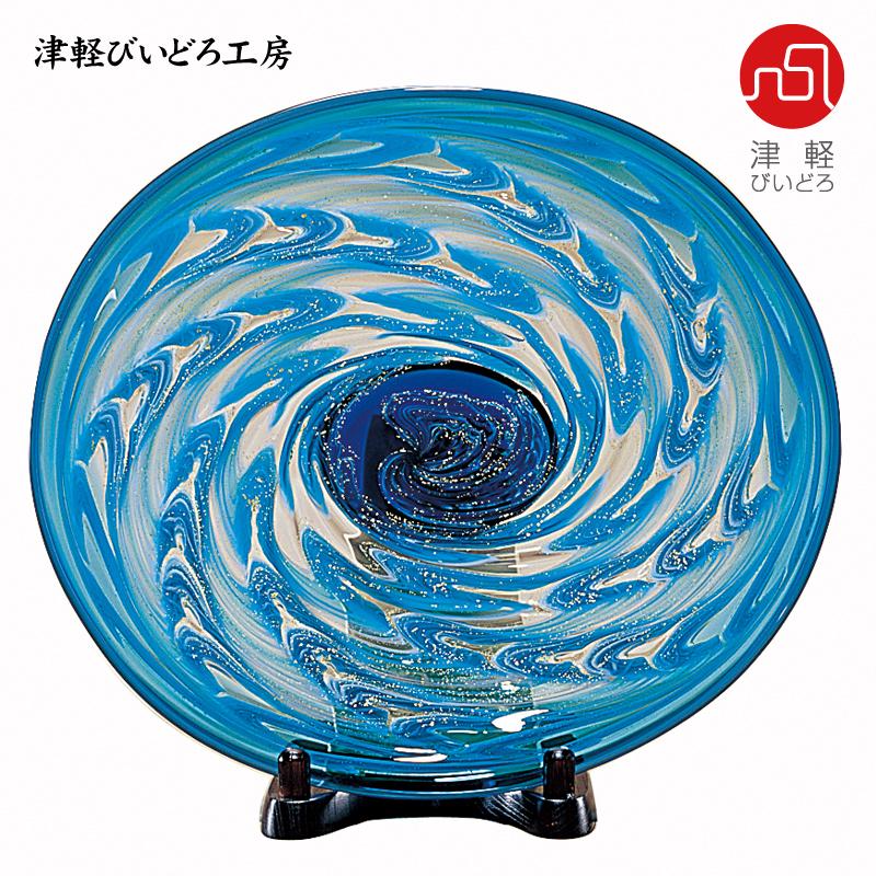 津軽びいどろ 楕円大皿 津軽海峡 F-79642 (ADERIA GLASS)