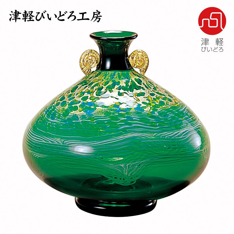 津軽びいどろ 花器(大) 奥入瀬 新緑 F-79646 (ADERIA GLASS)