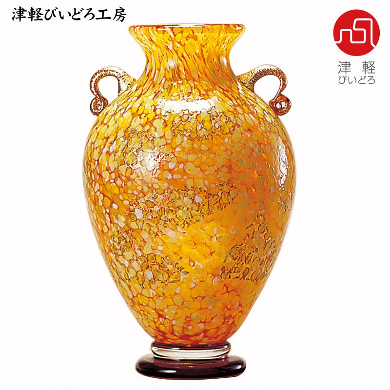 津軽びいどろ 壷 十和田 紅葉 F-79649 (ADERIA GLASS)