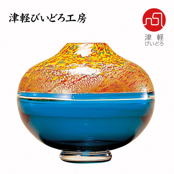津軽びいどろ 丸花器 十和田 ☆新作入荷☆新品 紅葉 ADERIA F-79650 GLASS 豊富な品