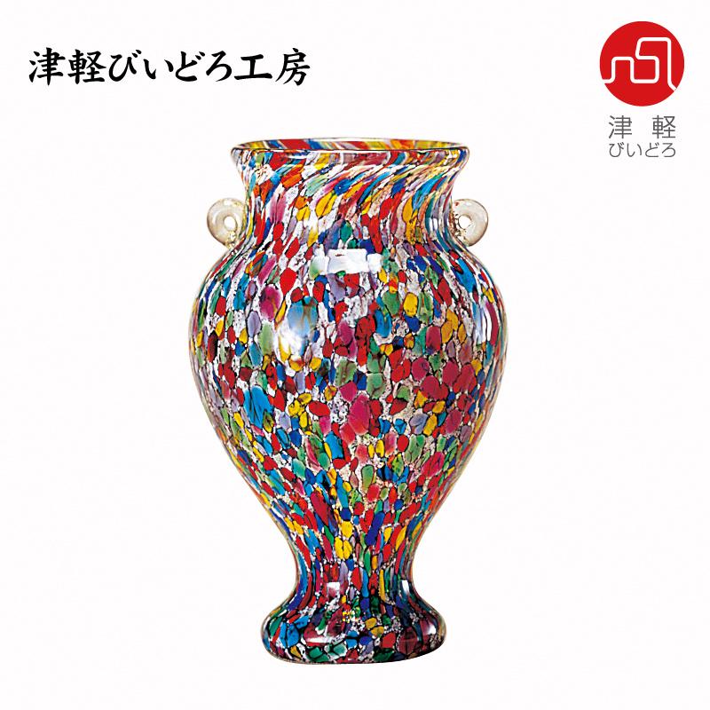 津軽びいどろ 花器(小) ねぶたまつり F-79652 (ADERIA GLASS)
