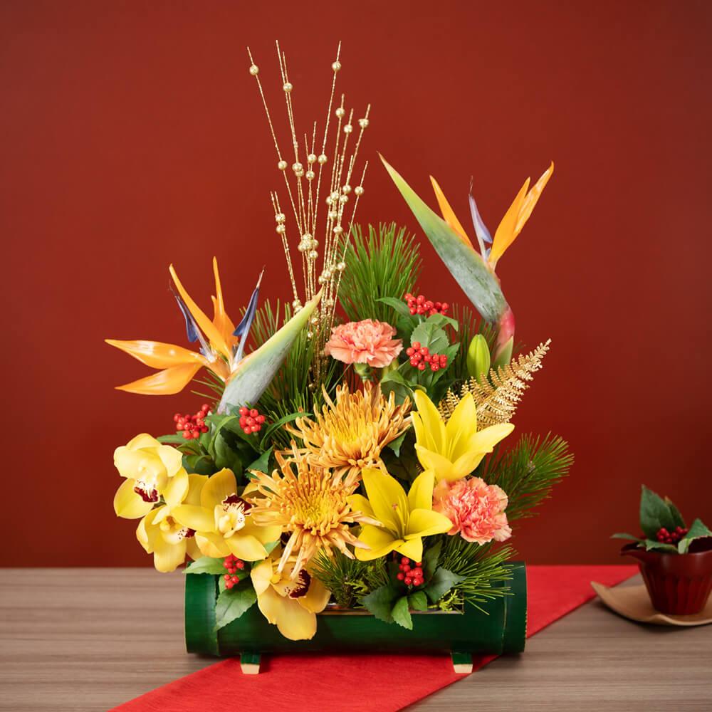 【お正月フラワーギフト】アレンジメント「鳥花の舞」 プレゼント お年賀 正月飾り お正月飾り 迎春 玄関 花 2020