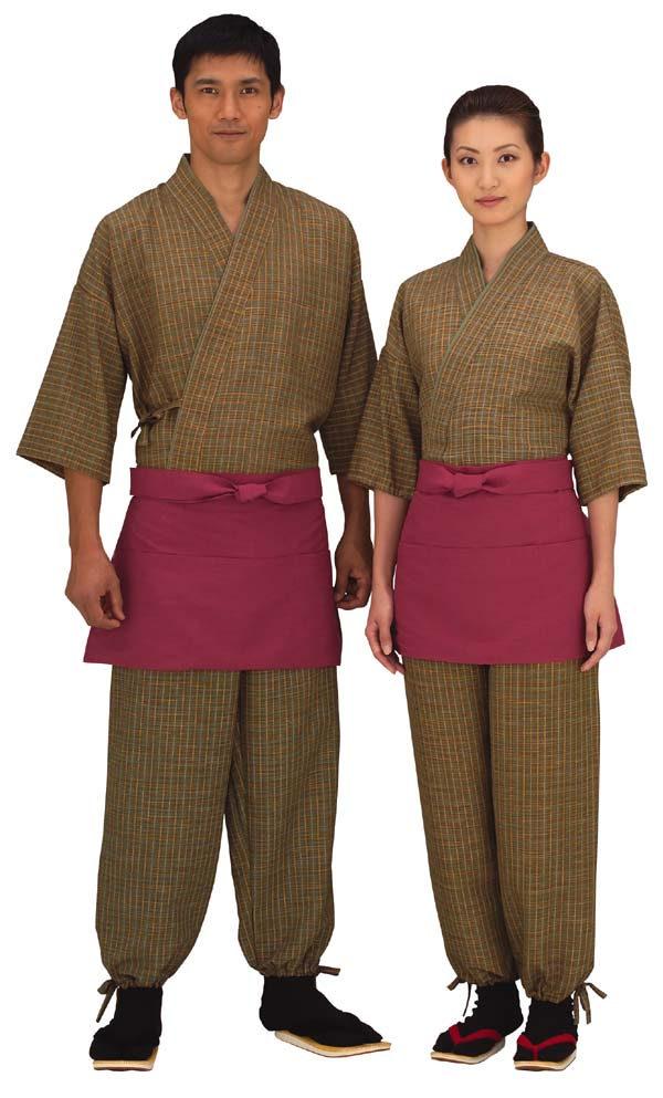 【在庫限り】男性用ちりめん格子作務衣【送料無料】