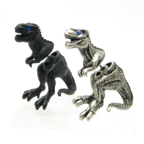 Sterling Silver 7 4.5mm Charm Bracelet With Attached 3D Tyrannosaurus Rex Dinosaur Charm