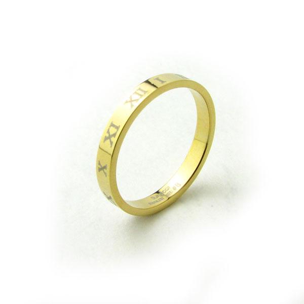 リピーター続出 ?ステンレスリング リング 指輪 無敵のローマ数字デザイン 安心と信頼 KR300 ペアリング ステンレス ゴージャスゴールドカラーステンレスリング 直営店