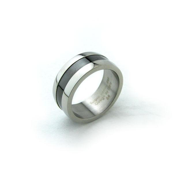 カッコよくてシンプル 驚きの値段で リング 指輪 ブラックラインで洗礼されたデザイン ステンレス 往復送料無料 ペアリング ステンレスリングKR17002