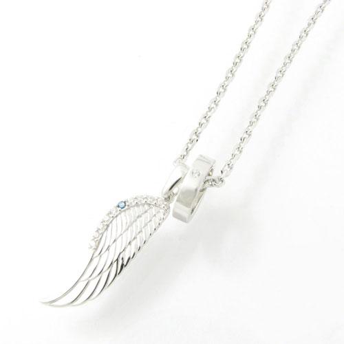 ネックレス close to me シルバーネックレス天使の翼 ブルーダイヤモンド×ジルコニアメンズタイプ フェザー SN13-183【ペンダント】
