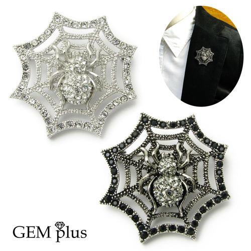 個性的で魅惑的な蜘蛛の巣デザインのピンブローチ ブローチ 大決算セール 蜘蛛 クモの巣 25%OFF ラペルピン ピンブローチ plus KS44003 ラベルピン GEM