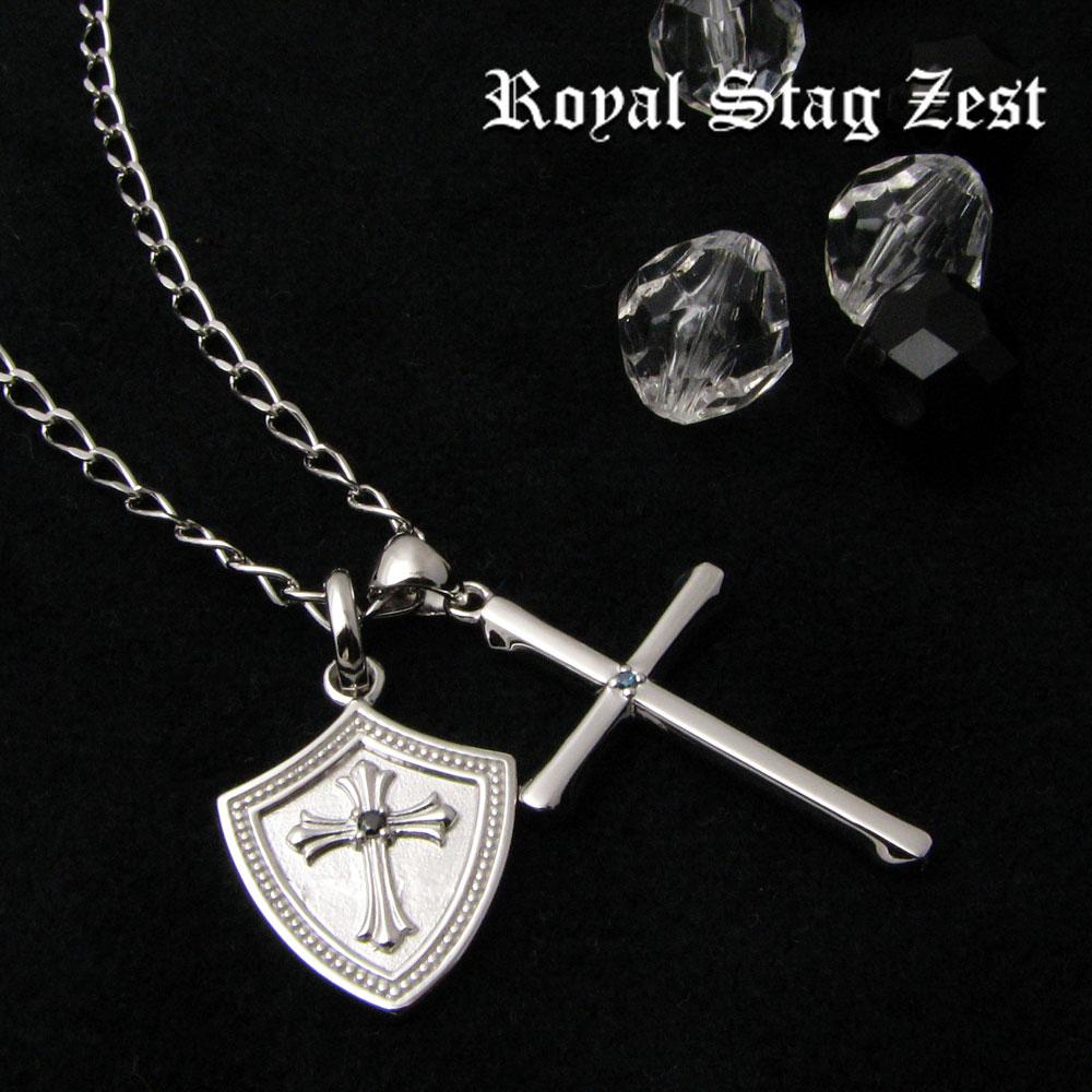 ネックレス メンズ RoyalStagZEST シルバーネックレス 英雄の盾 クロス3WAY ブルーダイヤモンド SN25-027
