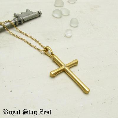 ネックレス メンズ シルバー K23RGP ゴールド RoyalStagZEST クロス 十字架 ラージサイズ 天然 ダイヤモンド SN26-001【ペンダント】
