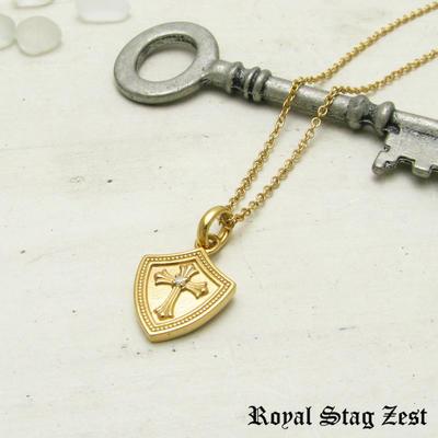 ネックレス メンズ レディース シルバー K23RGP ゴールド RoyalStagZEST クロス シールド 盾 スモールサイズ 天然 ダイヤモンド SN26-004【ペンダント】