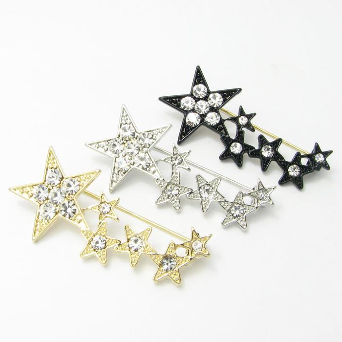 大小のスターが連なる流星のようなピンバッチ 記念日 流れ星 シューティングスター キラキラ 本物 ピンブローチ KS34003 ラベルピン