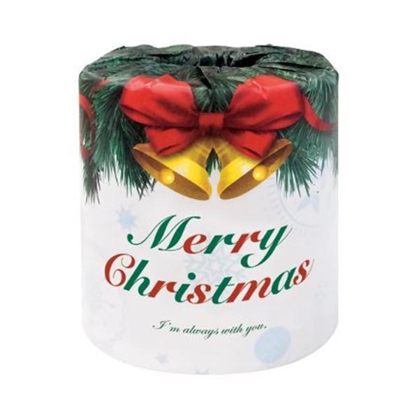 10000円以上送料無料 ハッピークリスマス クリスマスロール トイレットペーパー 100個入 2366 【家事用品 レビュー投稿で次回使える2000円クーポン全員にプレゼントトイレマット・カバー類】