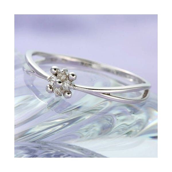 WGダイヤリング 指輪 フラワーリング 9号 ファッション リング・指輪 天然石 ダイヤモンド レビュー投稿で次回使える2000円クーポン全員にプレゼント