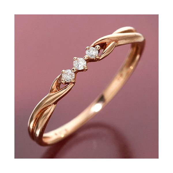K10/PG ツイストダイヤリング 指輪 184275 7号 ファッション リング・指輪 天然石 ダイヤモンド レビュー投稿で次回使える2000円クーポン全員にプレゼント