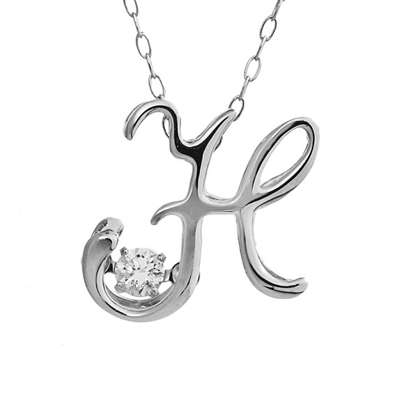 ダンシングストーン K18WG・天然ダイヤモンドシリーズイニシャル「H」ペンダント/ネックレス ファッション ネックレス・ペンダント 天然石 ダイヤモンド レビュー投稿で次回使える2000円クーポン全員にプレゼント