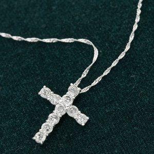 K18WG 0.5ctダイヤモンドクロスペンダント /192127 ファッション ネックレス・ペンダント 天然石 ダイヤモンド レビュー投稿で次回使える2000円クーポン全員にプレゼント