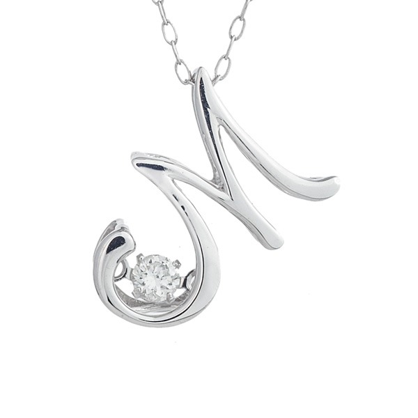 10000円以上送料無料 ダンシングストーン K18WG・天然ダイヤモンドシリーズイニシャル「M」ペンダント/ネックレス ファッション ネックレス・ペンダント 天然石 ダイヤモンド レビュー投稿で次回使える2000円クーポン全員にプレゼント