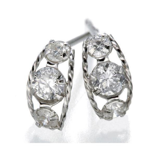 K18ローブダイヤモンドピアス K18WG ファッション ピアス・イヤリング 天然石 ダイヤモンド レビュー投稿で次回使える2000円クーポン全員にプレゼント