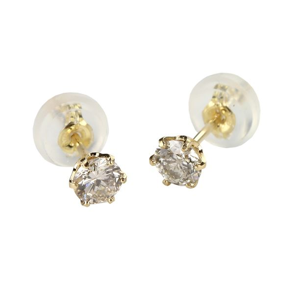 ダイヤモンドピアス 一粒 K18 イエローゴールド 0.1ct スタッドピアス ファッション ピアス・イヤリング 天然石 ダイヤモンド レビュー投稿で次回使える2000円クーポン全員にプレゼント
