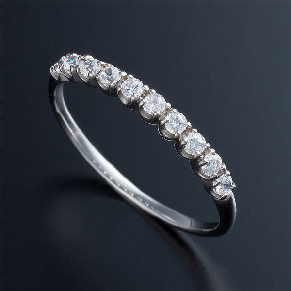 K10ホワイトゴールド 0.2ctハーフエタニティリング 21号 ファッション リング・指輪 天然石 ダイヤモンド レビュー投稿で次回使える2000円クーポン全員にプレゼント