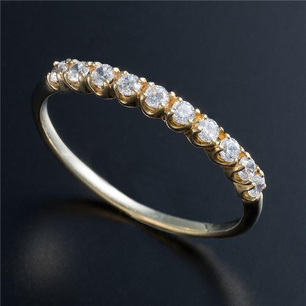 K10イエローゴールド 0.2ctハーフエタニティリング 15号 ファッション リング・指輪 天然石 ダイヤモンド レビュー投稿で次回使える2000円クーポン全員にプレゼント