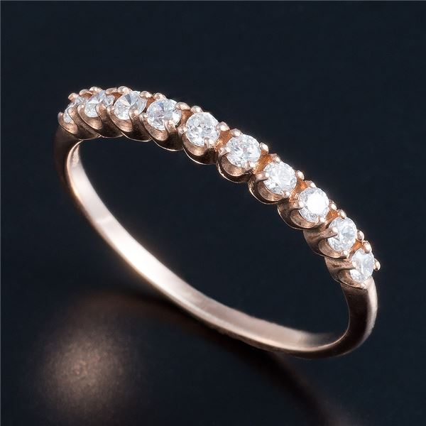 10000円以上送料無料 K10ピンクゴールド 0.2ctハーフエタニティリング 15号 ファッション リング・指輪 天然石 ダイヤモンド レビュー投稿で次回使える2000円クーポン全員にプレゼント