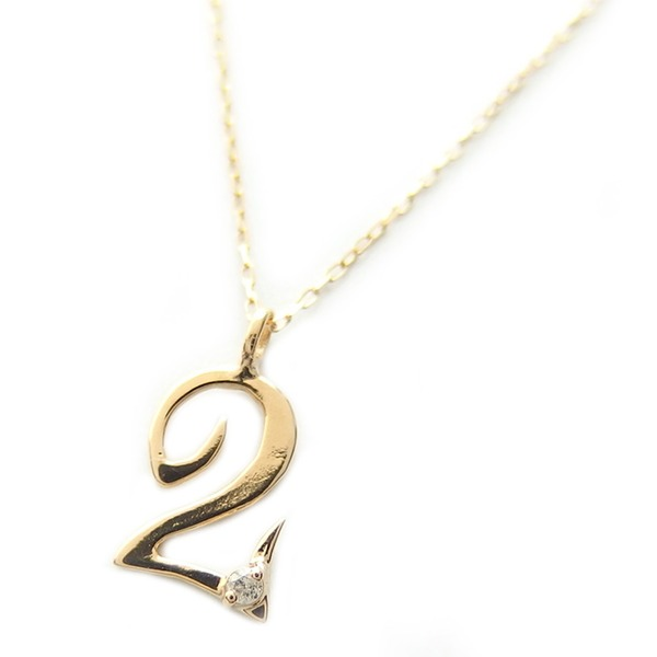 ナンバー ネックレス ダイヤモンド ネックレス 一粒 0.01ct K18 ゴールド 数字 2 ダイヤネックレス ペンダント ファッション ネックレス・ペンダント 天然石 ダイヤモンド レビュー投稿で次回使える2000円クーポン全員にプレゼント