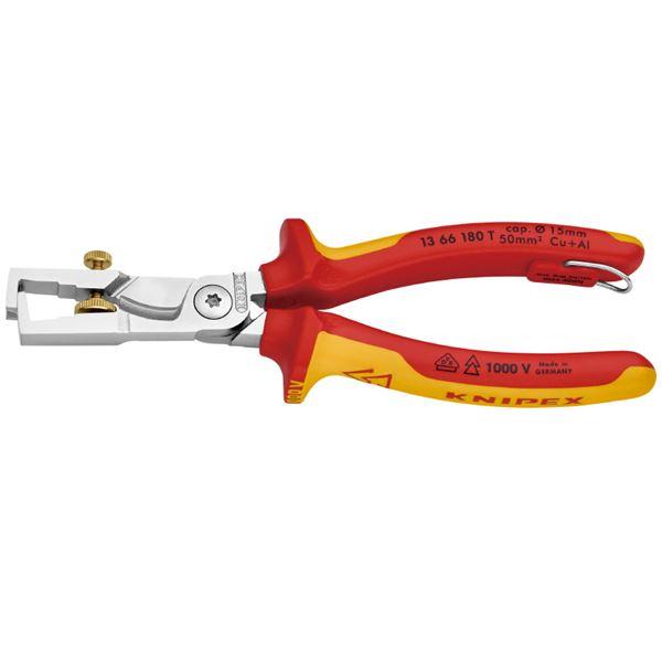 KNIPEX(クニペックス) 1366-180TBK 絶縁カッティングストリッパー 落防(BK) スポーツ・レジャー DIY・工具 ペンチ その他のペンチ レビュー投稿で次回使える2000円クーポン全員にプレゼント