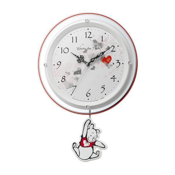 5000円以上送料無料 くまのプーさん 振り子時計 電波掛け時計 8MX407MC03 ホワイト 【インテリア 時計】 レビュー投稿で次回使える2000円クーポン全員にプレゼント