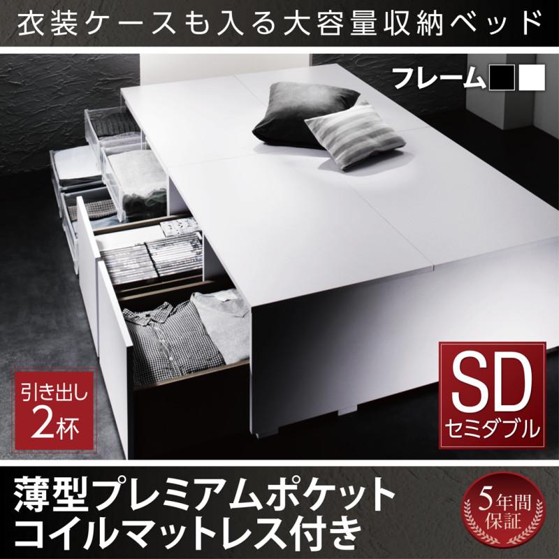 衣装ケースも入る大容量デザイン収納ベッド SCHNEE シュネー 薄型プレミアムポケットコイルマットレス付き 引出し2杯 セミダブル