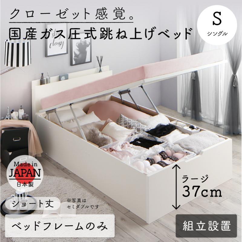 組立設置付 クローゼット感覚ガス圧跳ね上げベッド aimable エマーブル ベッドフレームのみ 縦開き シングル ショート丈 深さラージ