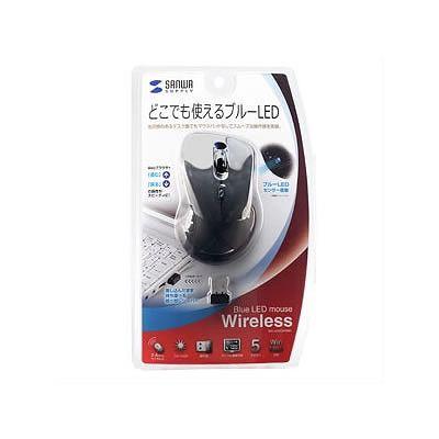 산와 서플라이 초소형 리시버 무선 블루 LED 마우스(블랙) MA-NANOH9BK