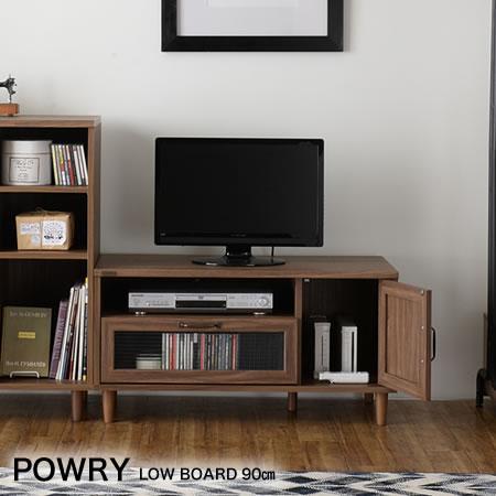【代引不可】テレビ台 テレビボードPOWRYポーリー ローボード90 BR ローボード キャビネット CD・DVD収納 波ガラス アンティーク調 丸脚
