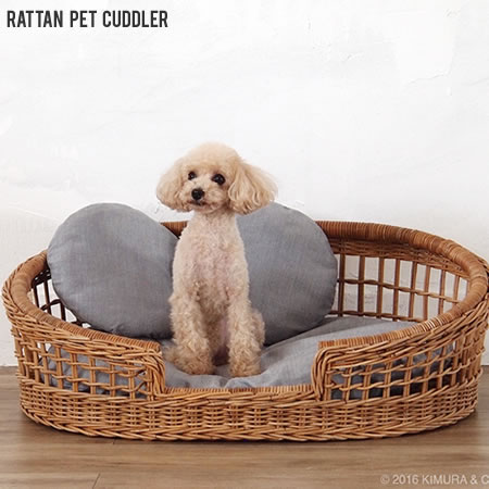 【代引不可】ラタン 籐 カドラー ペット用品 猫 犬 クッション ペットベッド バスケット おしゃれ /ラタン ペットカドラー