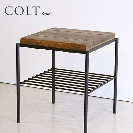 スツール サイドテーブル 『 COLT コルト スツール 』 椅子 チェア イス 古木風 無垢 木製 アイアン