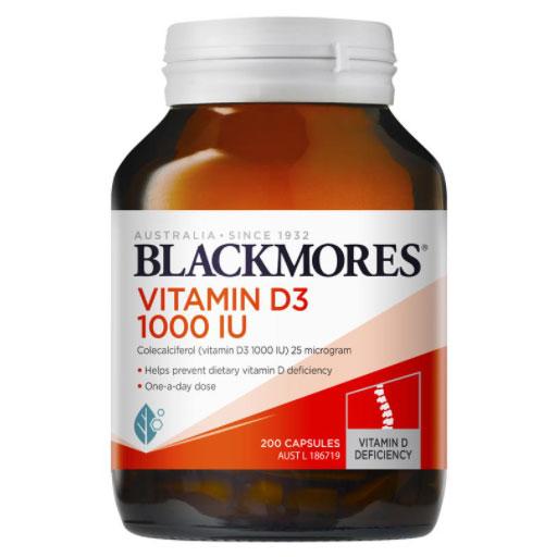 健康な骨に不可欠なカルシウムとリン酸塩の吸収を助け ミネラルの提供により 健康な骨密度を維持 送料無料 ブラックモアズ 2020A/W新作送料無料 ビタミン D3 宅送 1000 200カプセル Vitamin 1000IU Capsules IU 海外直送 200 1本Blackmores
