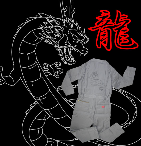 アースモンスター EMコレクションDICKIES レギュラーカバーオール(ツナギ) ドラゴン グレイ