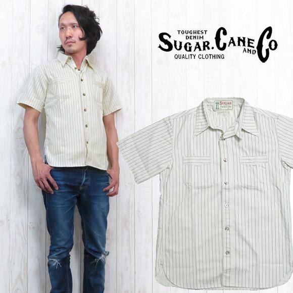 シュガーケーン SUGAR CANE シャツ 半袖 ホワイト ウォバッシュ ストライプ ワーク 8.5oz SC37275
