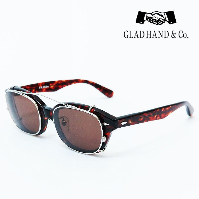 GLAD HAND 丹羽雅彦 クリップオン サングラス アンバー(べっ甲)フレーム×ダークブラウンレンズ シルバーパーツ セルロイド 眼鏡 J-IMMY GLASSES CLIP ON グラッドハンド にわまさひこ 鯖江 眼鏡 ジミー