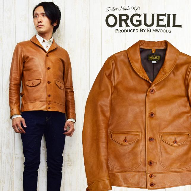 ORGUEIL オルゲイユ レザー コサックジャケット ワークジャケット 牛革 ステアハイド ヴィンテージ 専用木製ハンガー付き OR-4002B