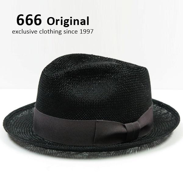 666 TRIPLE SIX トリプルシックス ストローハット ブラック×グレー無地リボン STRAW HAT SOB054
