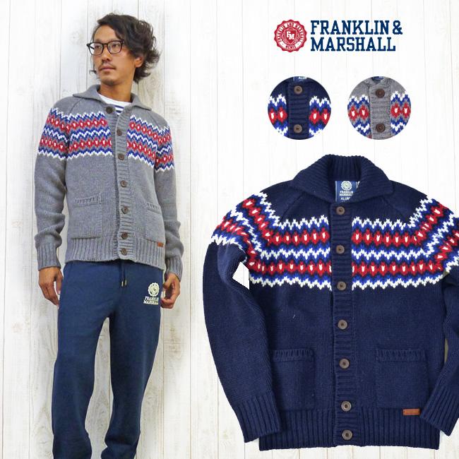 フランクリン マーシャル FRANKLIN&MARSHALL ボタン ニット ジャケット セーター 38181-6006※セール価格につき返品・交換不可