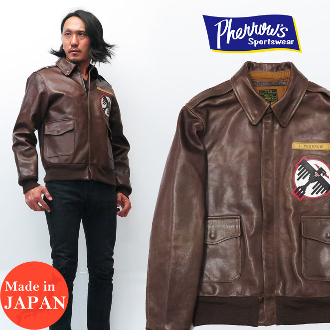 c041aeee5463 50 Fellowes Pherrow s leather flight jacket A-2 THUNDER BIRD Thunderbird  patch model-limited 18W-A-2-P