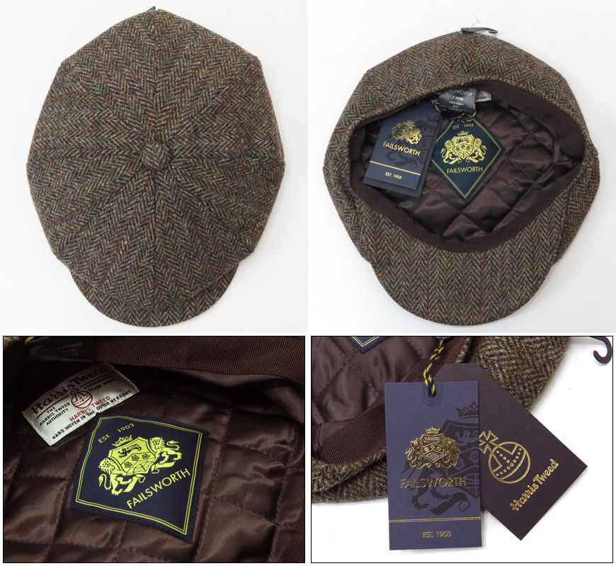 29ae77b639b035 ... Fails Worth Failsworth hunting cap Harris Tweed Carloway Harris Tweed  Calloway Newsboy cap 8 panel