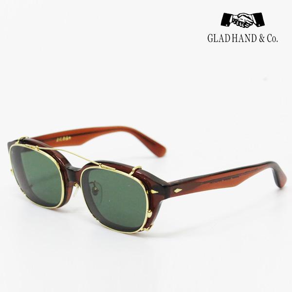 GLAD HAND 丹羽雅彦 クリップオン サングラス ブラウンフレーム×ダークグリーンレンズ ゴールドパーツ セルロイド 眼鏡 J-IMMY GLASSES CLIP ON グラッドハンド にわまさひこ 鯖江 眼鏡 ジミー